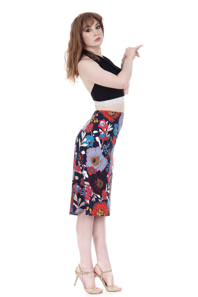 poppy field ruched skirt - Poema Tango Clothes: handmade luxury clothing for Argentine tango