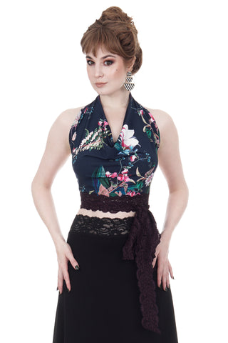 prussian blue bloom wrap top