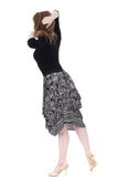 puff paisley bustled skirt - Poema Tango Clothes: handmade luxury clothing for Argentine tango