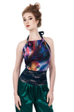 rainbow stream high-neck halter - Poema Tango Clothes: handmade luxury clothing for Argentine tango