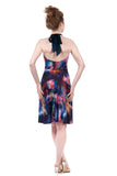 rainbow stream high-neck halter dress - Poema Tango Clothes: handmade luxury clothing for Argentine tango