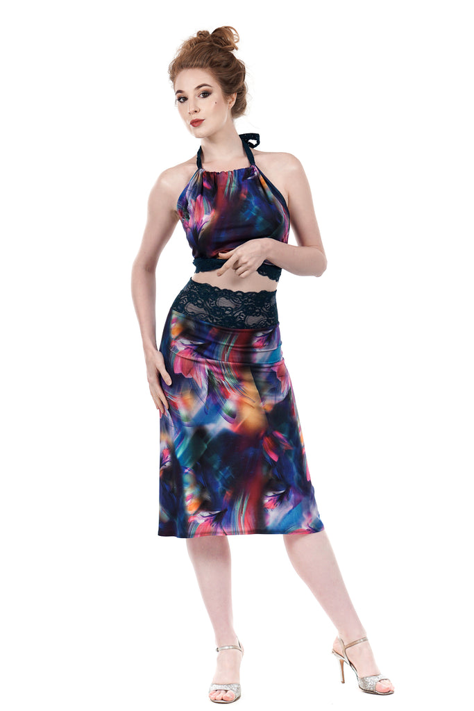 rainbow stream ruched skirt - Poema Tango Clothes: handmade luxury clothing for Argentine tango