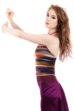rainbow striations halter - Poema Tango Clothes: handmade luxury clothing for Argentine tango