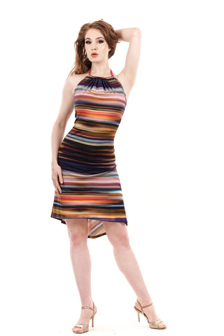 rainbow striations halter dress