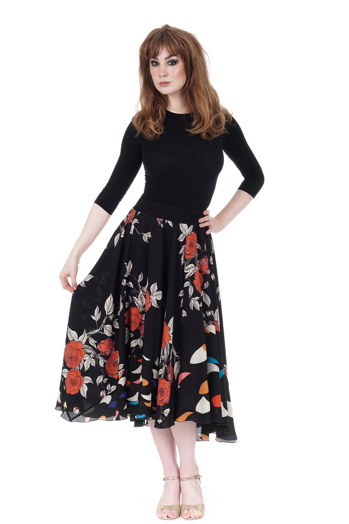 ramble rose & spaceships skirt - Poema Tango Clothes: handmade luxury clothing for Argentine tango