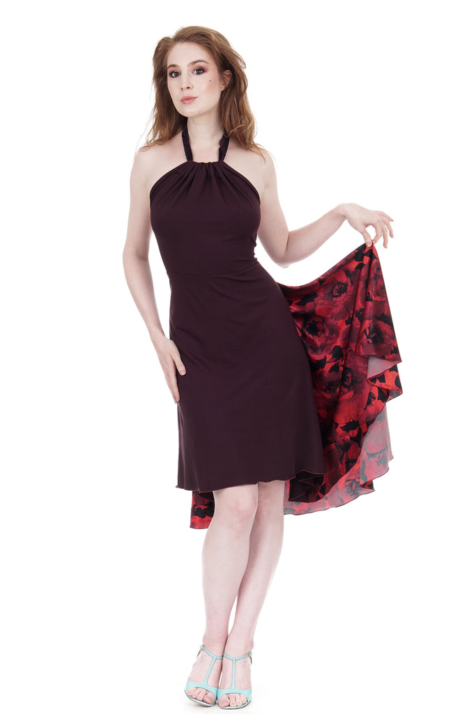 red blown roses dress - Poema Tango Clothes: handmade luxury clothing for Argentine tango