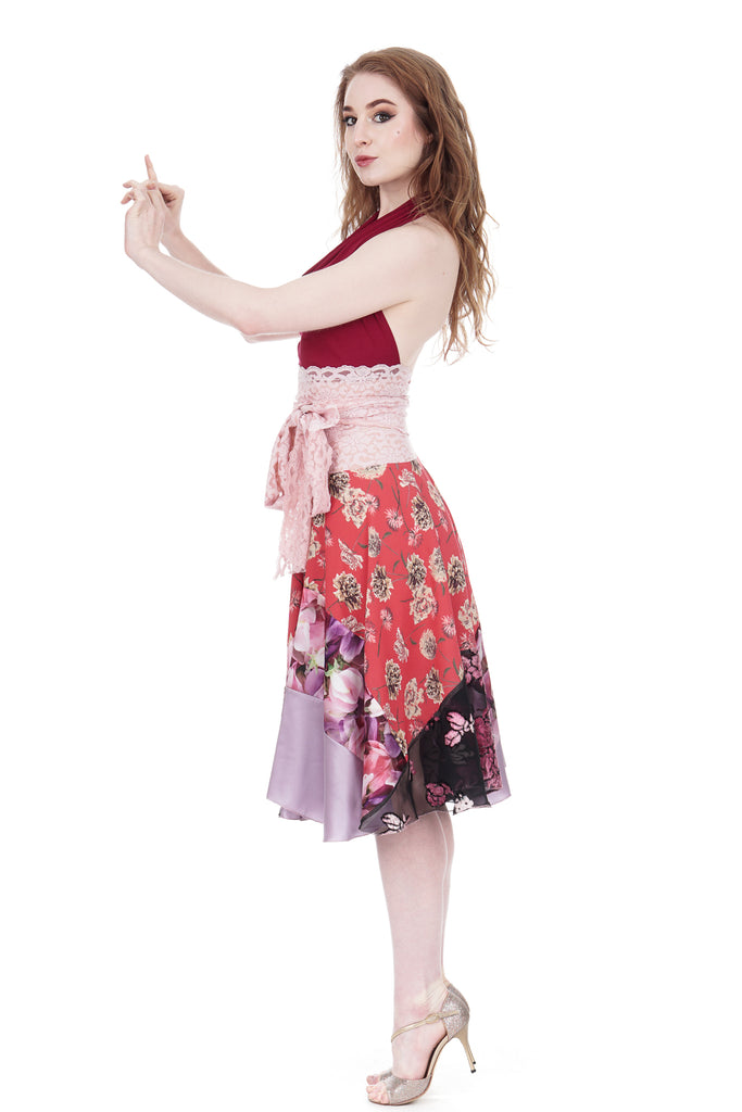 red chrysanthemum circle skirt - Poema Tango Clothes: handmade luxury clothing for Argentine tango