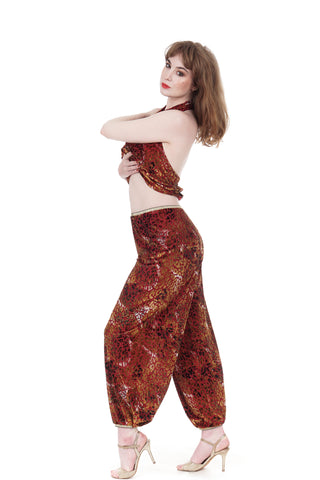 red gold leopard tango trousers