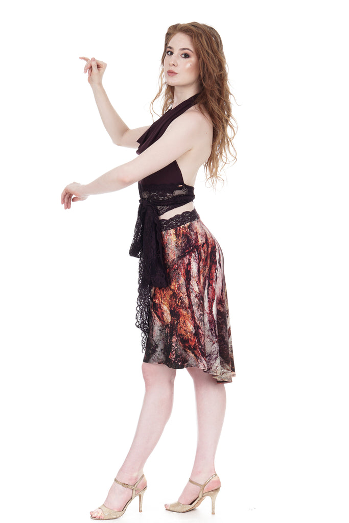 red marble draped & ruched skirt - Poema Tango Clothes: handmade luxury clothing for Argentine tango