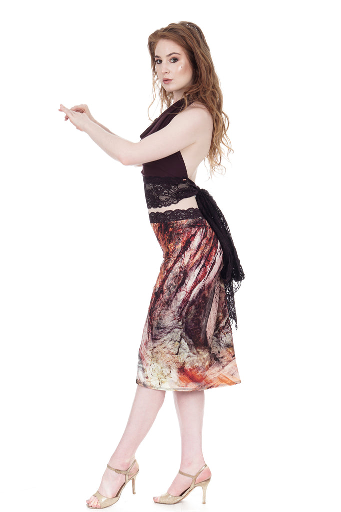 red marble ruched skirt - Poema Tango Clothes: handmade luxury clothing for Argentine tango