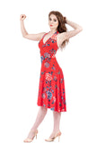 red porcelain flared dress - Poema Tango Clothes: handmade luxury clothing for Argentine tango