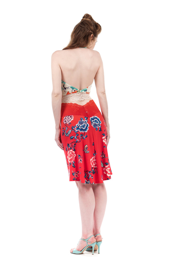 red porcelain fluted skirt - Poema Tango Clothes: handmade luxury clothing for Argentine tango
