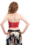 red porcelain halter - Poema Tango Clothes: handmade luxury clothing for Argentine tango