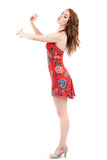 red porcelain short dress - Poema Tango Clothes: handmade luxury clothing for Argentine tango