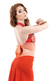 red porcelain tie-on top - Poema Tango Clothes: handmade luxury clothing for Argentine tango