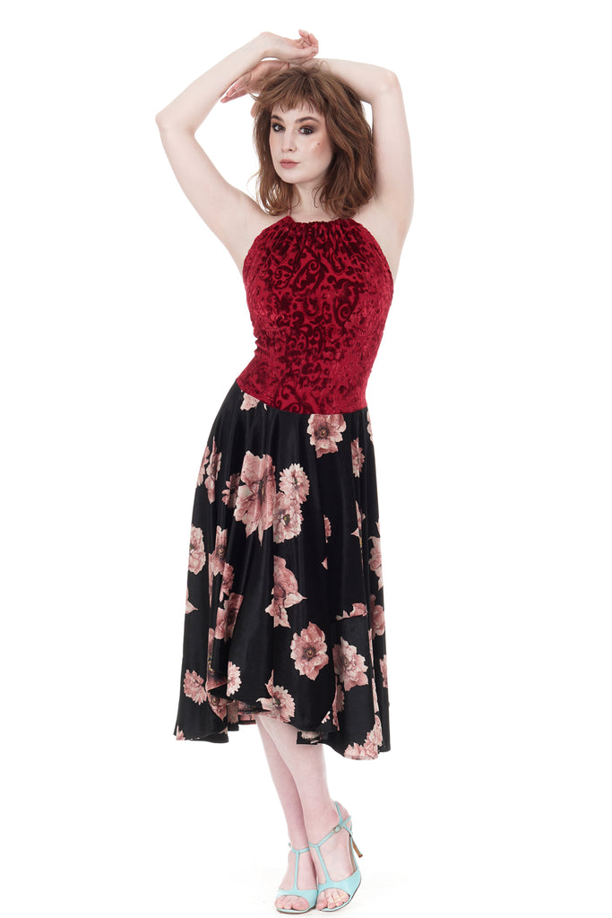 red velvet & tatter blooms dress - Poema Tango Clothes: handmade luxury clothing for Argentine tango