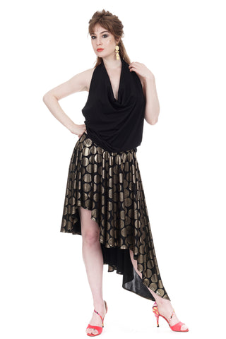 regal dot asymmetric cascade skirt - CLEARANCE