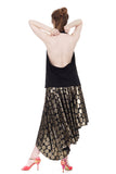regal dot asymmetric cascade skirt - Poema Tango Clothes: handmade luxury clothing for Argentine tango