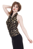 regal dot draped halter - Poema Tango Clothes: handmade luxury clothing for Argentine tango