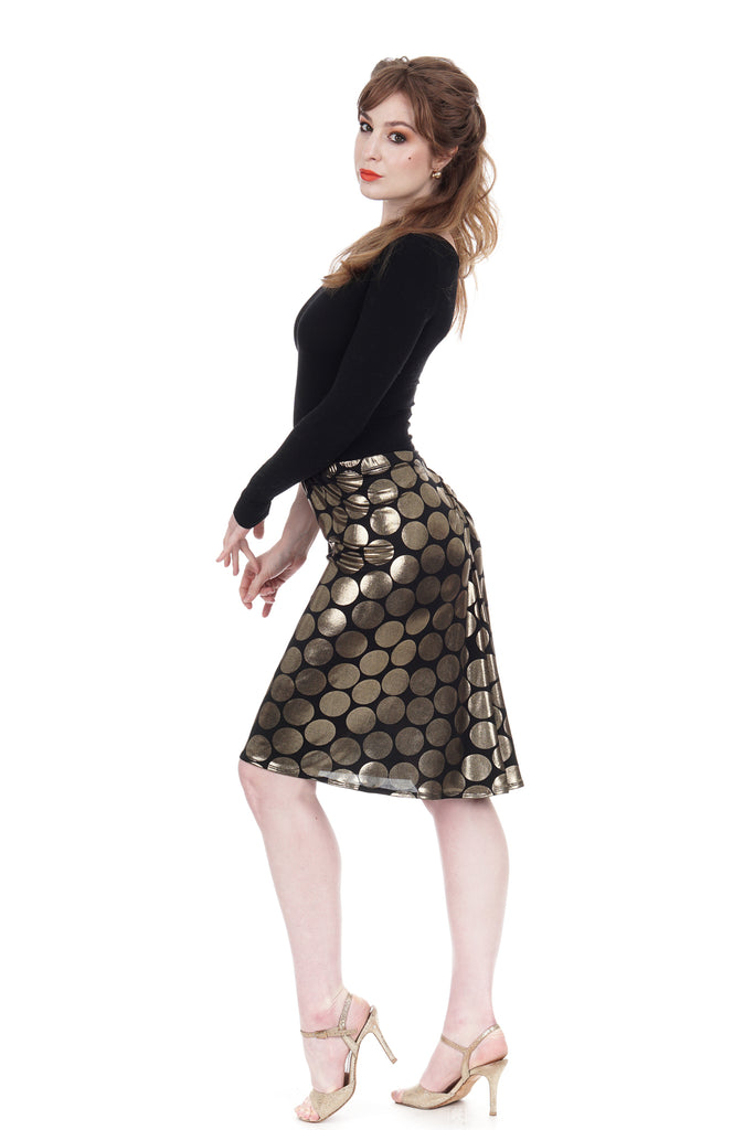 regal dot draped skirt - Poema Tango Clothes: handmade luxury clothing for Argentine tango