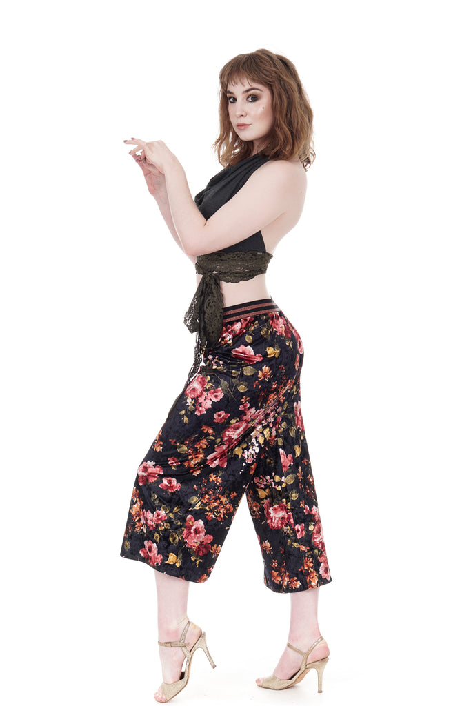 renaissance blooms velvet tango trousers - Poema Tango Clothes: handmade luxury clothing for Argentine tango