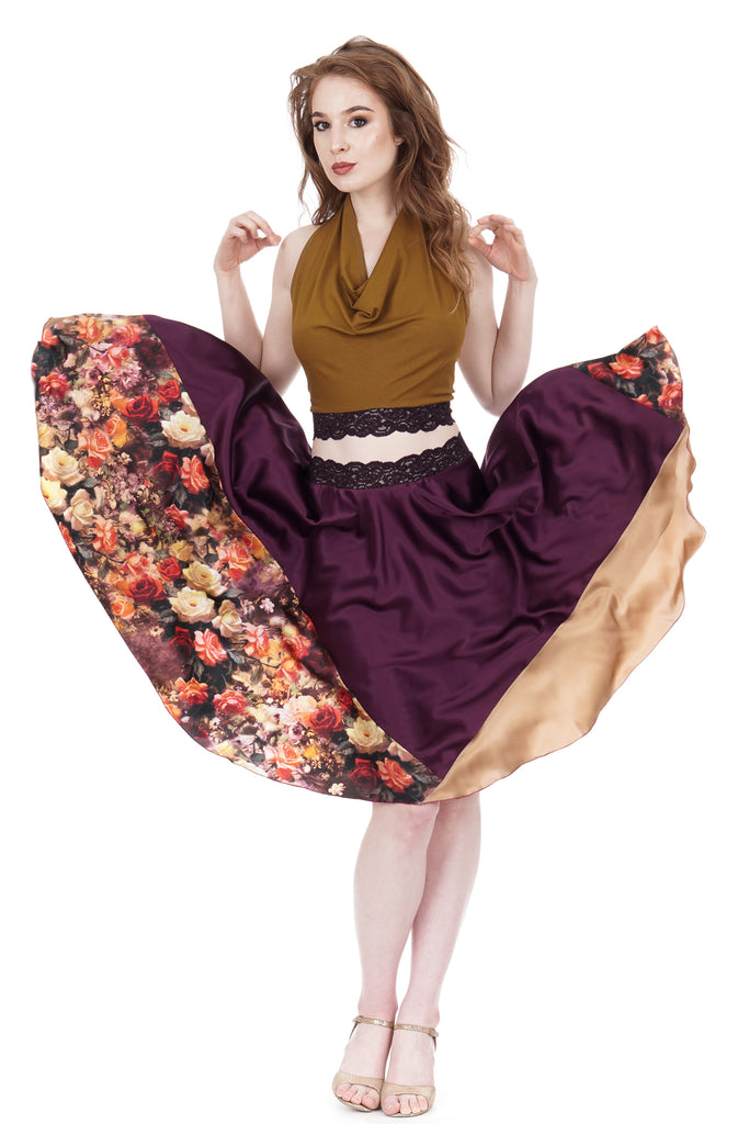 renaissance roses circle skirt - Poema Tango Clothes: handmade luxury clothing for Argentine tango