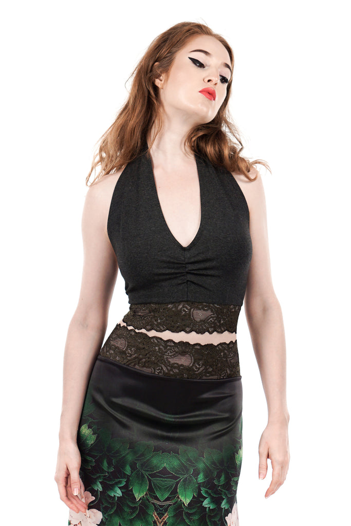 rich charcoal & french green lace ruched halter - Poema Tango Clothes: handmade luxury clothing for Argentine tango