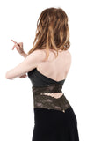rich charcoal & french green lace signature halter - Poema Tango Clothes: handmade luxury clothing for Argentine tango