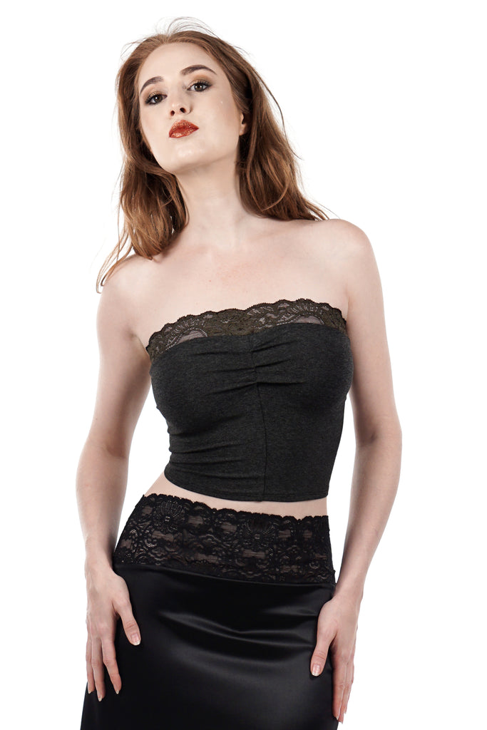 rich charcoal bandeau - Poema Tango Clothes: handmade luxury clothing for Argentine tango
