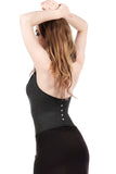 rich charcoal draped halter with crystal buttons - Poema Tango Clothes: handmade luxury clothing for Argentine tango