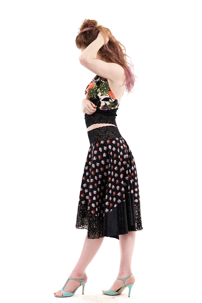 rose and sequin skirt - Poema Tango Clothes: handmade luxury clothing for Argentine tango
