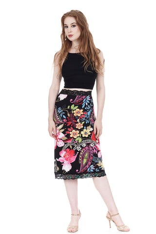 rose festival embellished ruched skirt