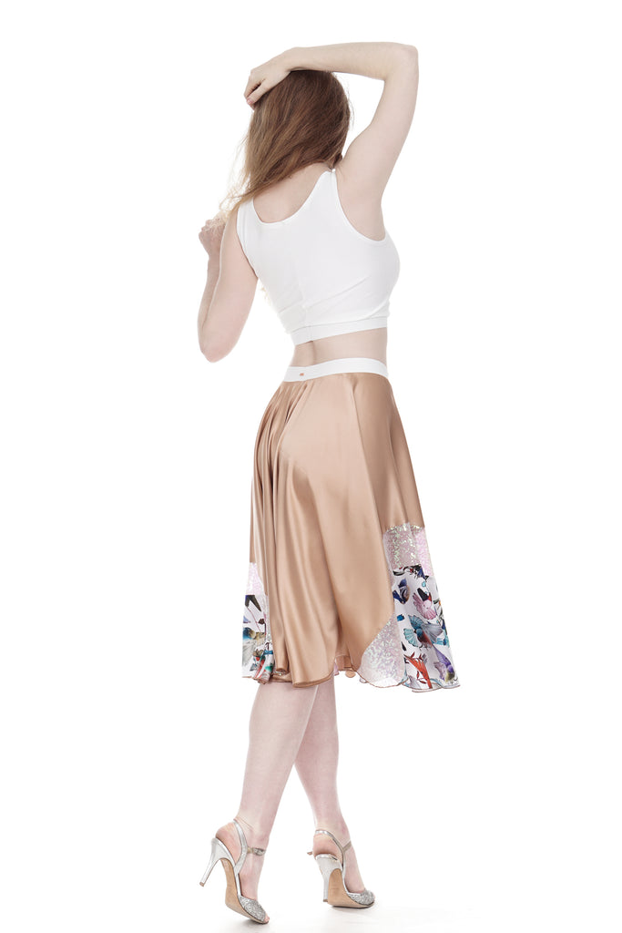rose gold & hummingbirds silk skirt - Poema Tango Clothes: handmade luxury clothing for Argentine tango