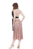 rose gold sequin draped skirt - Poema Tango Clothes: handmade luxury clothing for Argentine tango