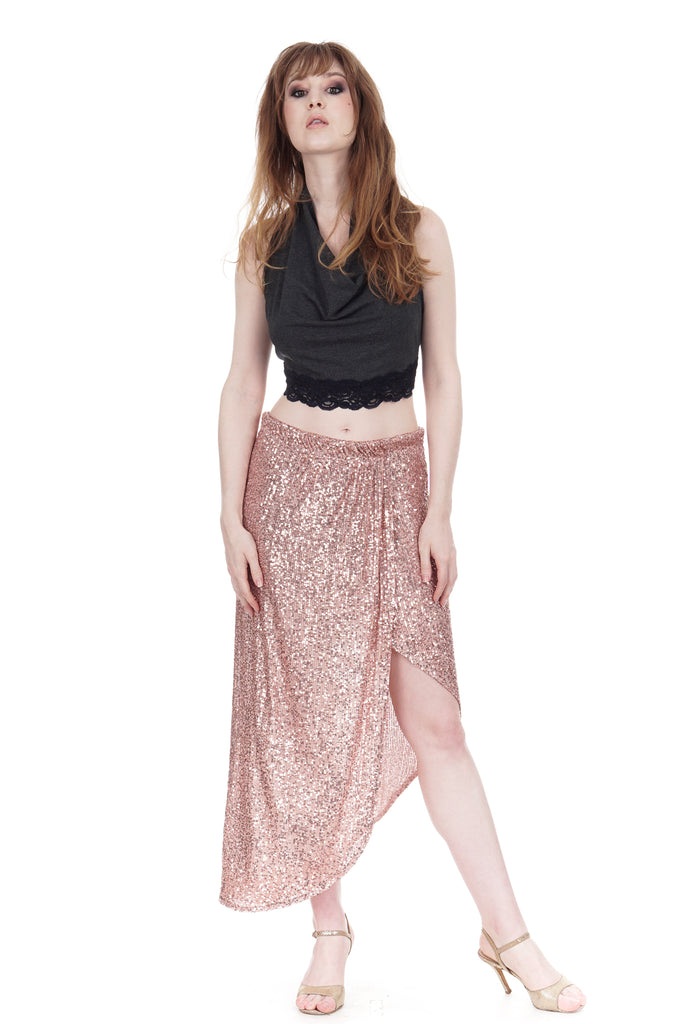 rose gold sequins faux wrap skirt - Poema Tango Clothes: handmade luxury clothing for Argentine tango