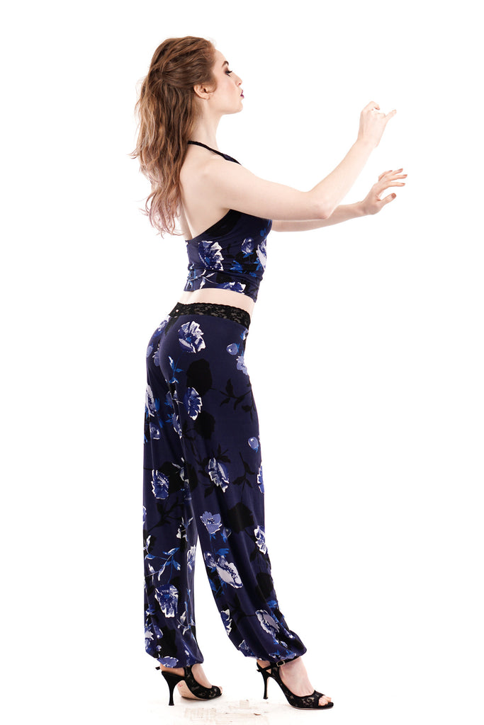 royal falling blooms tango trousers - Poema Tango Clothes: handmade luxury clothing for Argentine tango