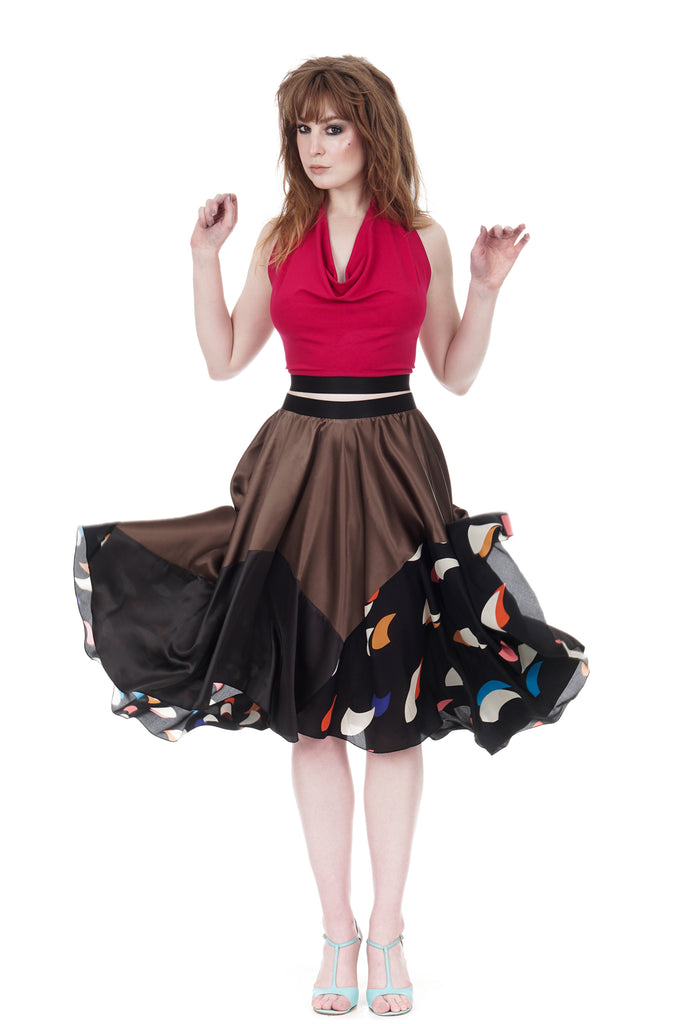 sable & spaceships silk skirt - Poema Tango Clothes: handmade luxury clothing for Argentine tango