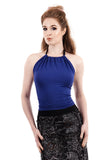 sapphire halter - Poema Tango Clothes: handmade luxury clothing for Argentine tango