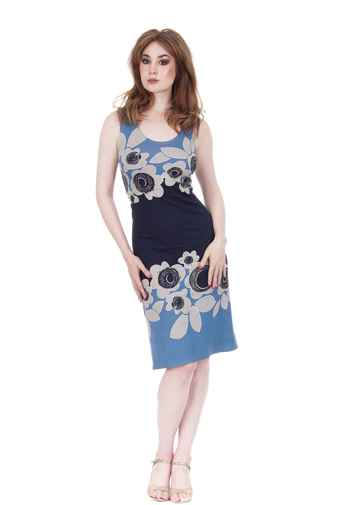scandi blue ruched tank dress - Poema Tango Clothes: handmade luxury clothing for Argentine tango