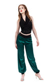 scarab green silk tango trousers - Poema Tango Clothes: handmade luxury clothing for Argentine tango