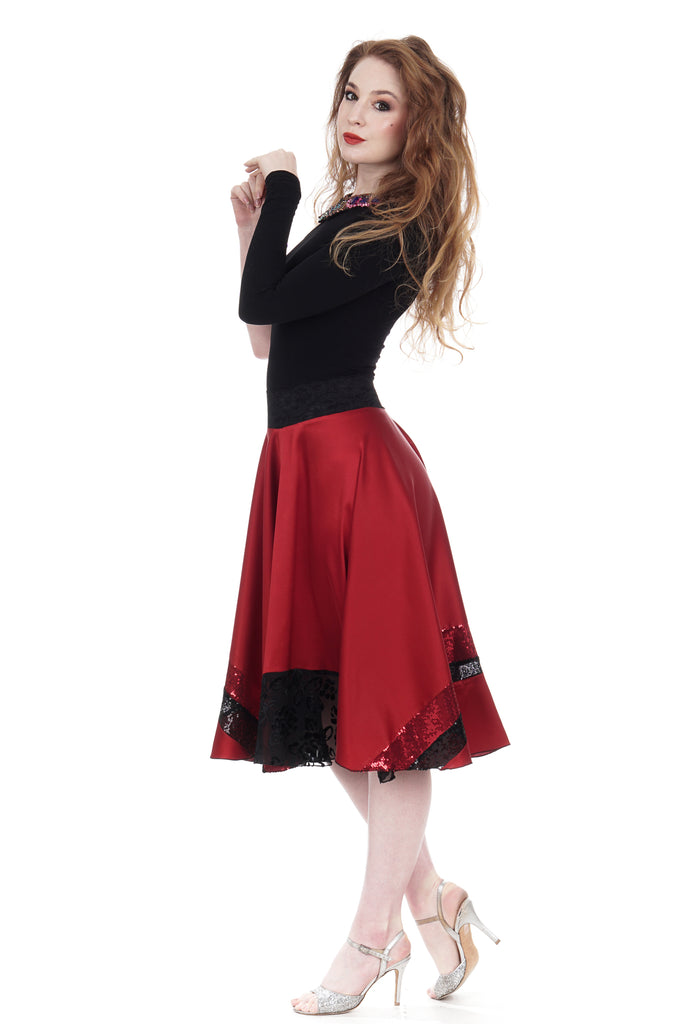 scarlet & sequins silk skirt - Poema Tango Clothes: handmade luxury clothing for Argentine tango