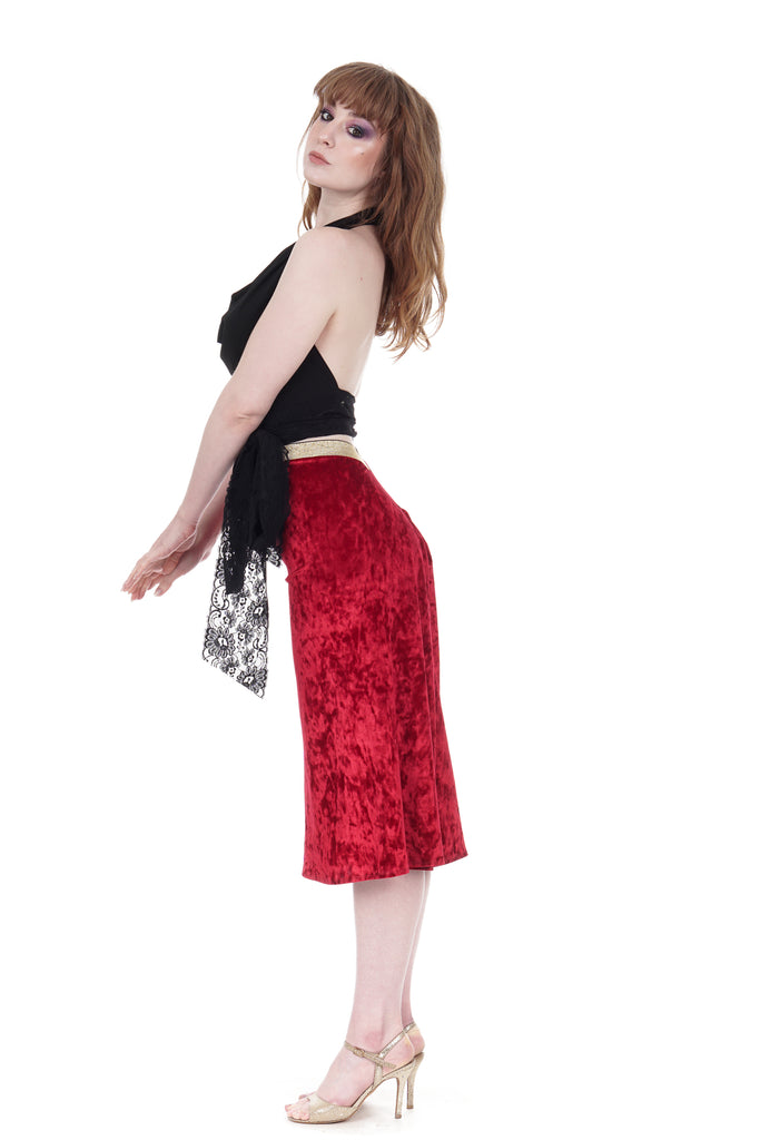 scarlet crushed velvet ruched skirt - Poema Tango Clothes: handmade luxury clothing for Argentine tango