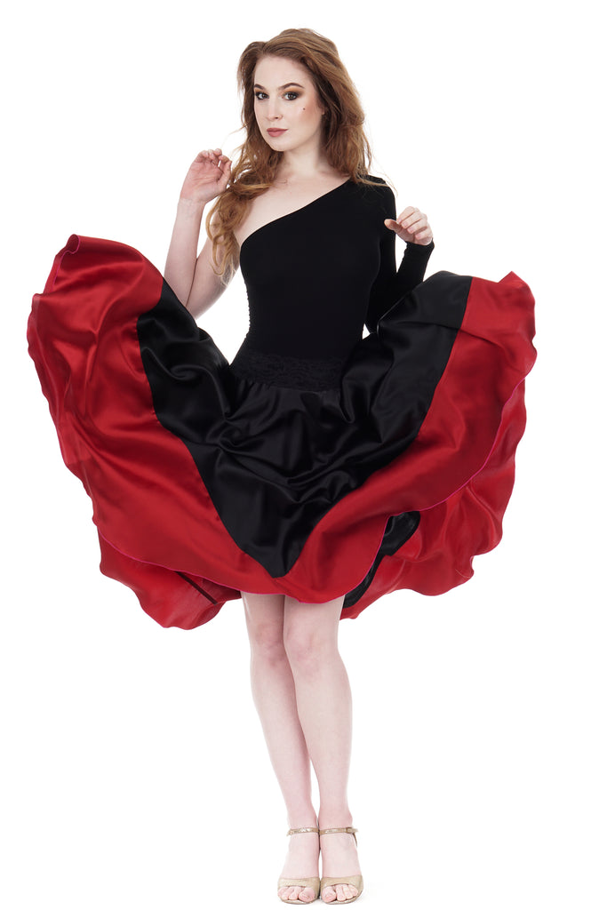 scarlet-dipped inky silk skirt - Poema Tango Clothes: handmade luxury clothing for Argentine tango