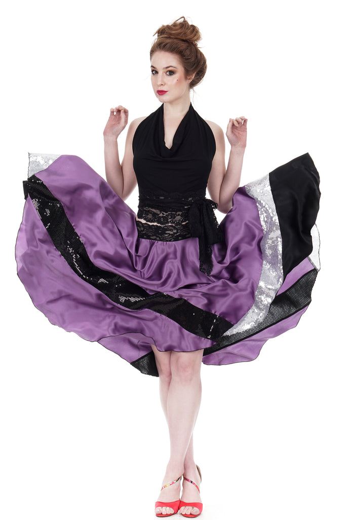 sequin-striated amethyst silk skirt - Poema Tango Clothes: handmade luxury clothing for Argentine tango