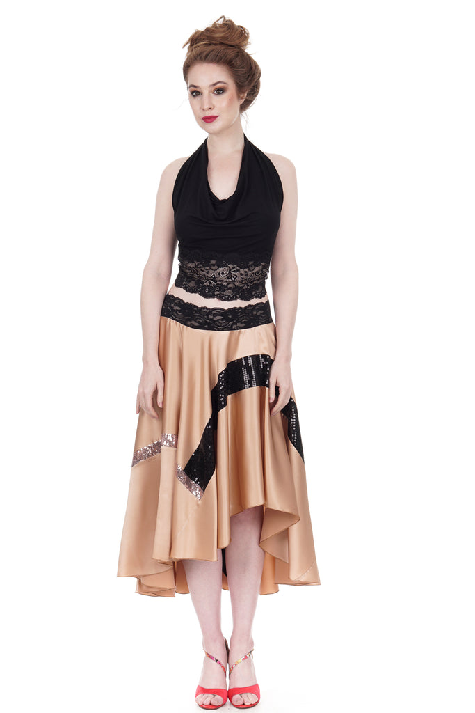 sequin-traced blush silk skirt - Poema Tango Clothes: handmade luxury clothing for Argentine tango