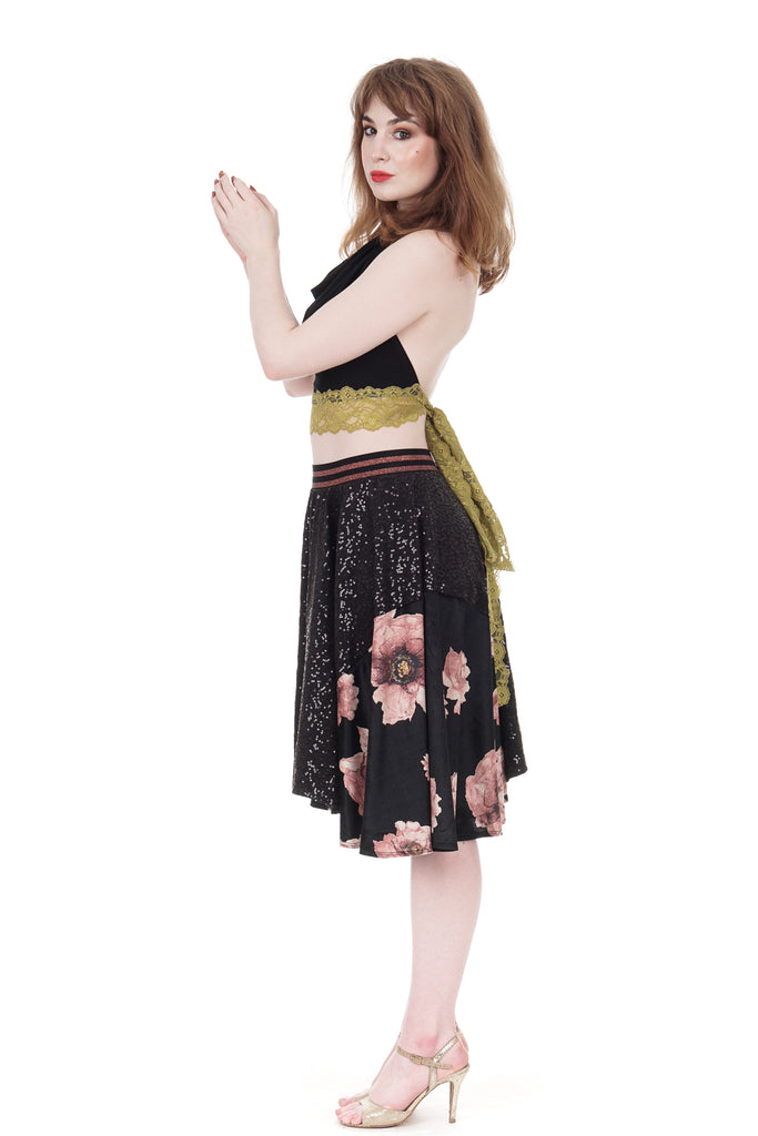 sequins & tatter blooms skirt - Poema Tango Clothes: handmade luxury clothing for Argentine tango