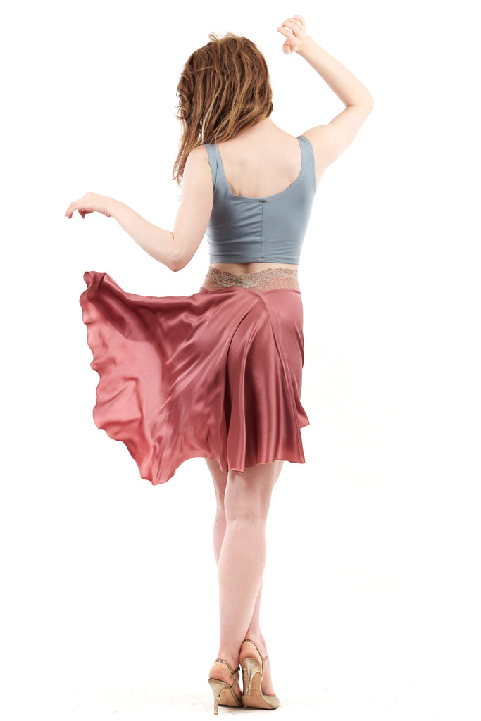 signature skirt in antique rose silk - Poema Tango Clothes: handmade luxury clothing for Argentine tango