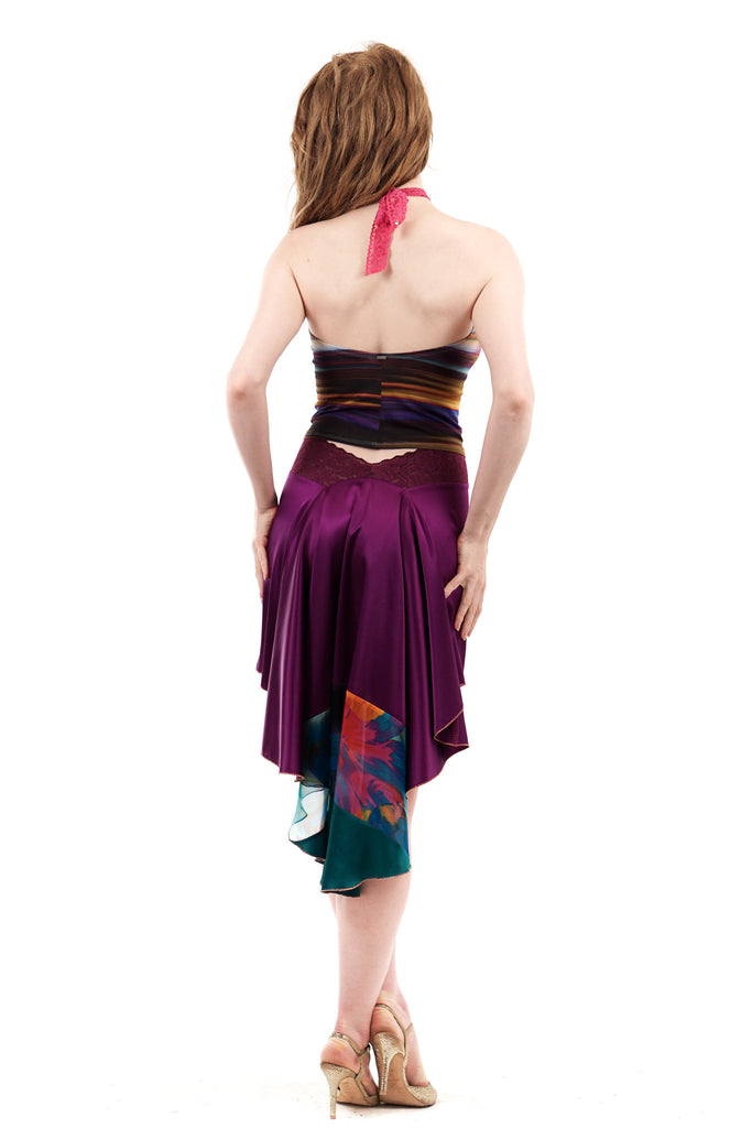 signature skirt in orchid and jade - Poema Tango Clothes: handmade luxury clothing for Argentine tango