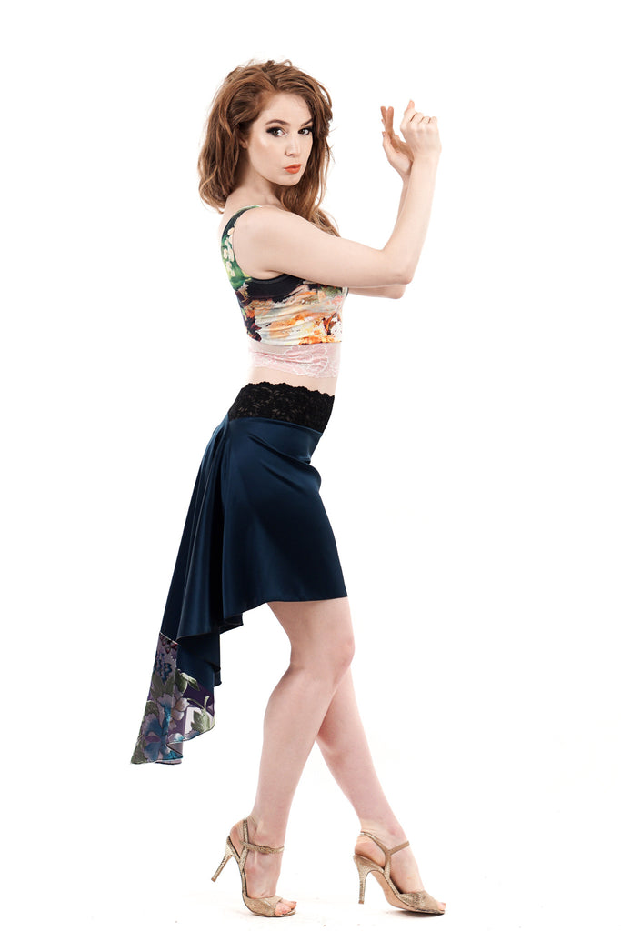signature skirt in prussian blue and burnout silk velvet - Poema Tango Clothes: handmade luxury clothing for Argentine tango