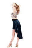 signature skirt in prussian blue silk - Poema Tango Clothes: handmade luxury clothing for Argentine tango